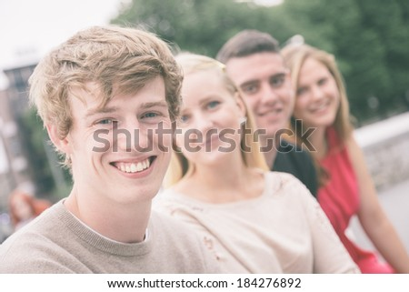 Group of Friends Outside - stock photo