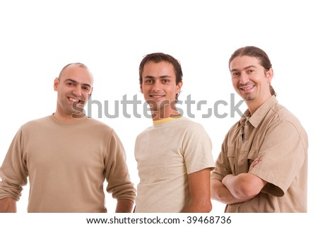 Group of friends, posing isolated over white - stock photo