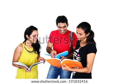Group of friends studying, isolated on white background - stock photo