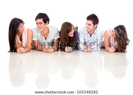 Group of friends talking and lying on the floor - isolated - stock photo