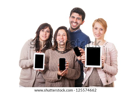 Group of Friends with Digital Devices