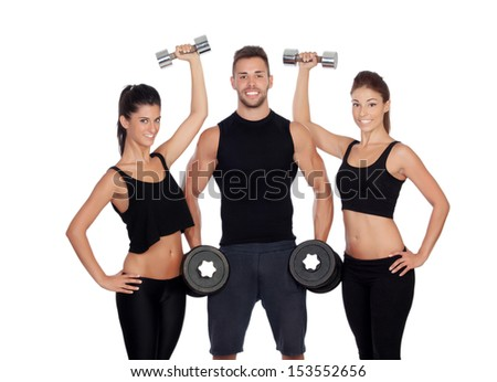 Group of friends with dumbbells isolated on white background - stock photo