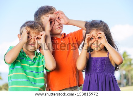 Group of Funny kids are playing outside - stock photo
