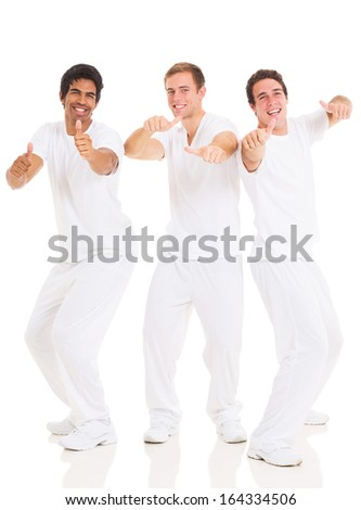 group of funny young men isolated on white - stock photo