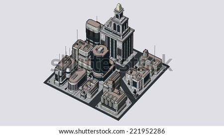 Group of futuristic buildings in isometric style - stock photo
