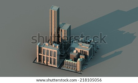 Group of futuristic buildings with long shadow - stock photo