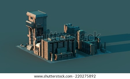 Group of futuristic buildings with long shadows - stock photo