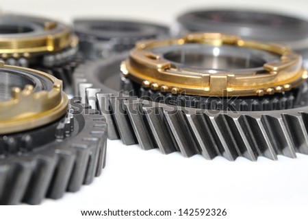 Group of gears on white background. - stock photo