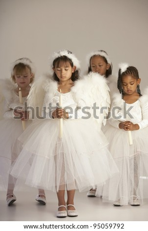 Group of girls dressed as angels