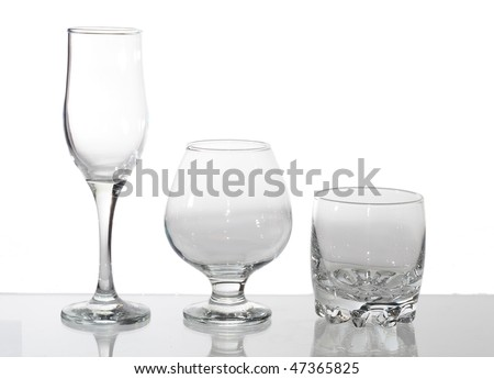 group of glasses isolated on white
