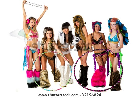 Group of 6 Go Go Dancers in full costume - stock photo