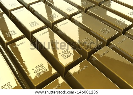 Group of gold bars background