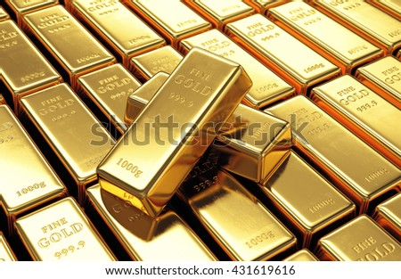Group of gold bars with two ingots on top. Financial success, business investment and wealth concept. 3D illustration - stock photo