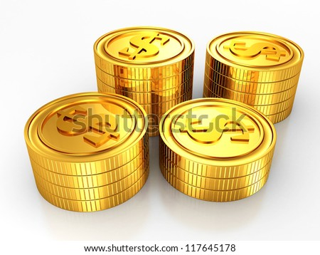group of gold usa dollar coins stacks on white background