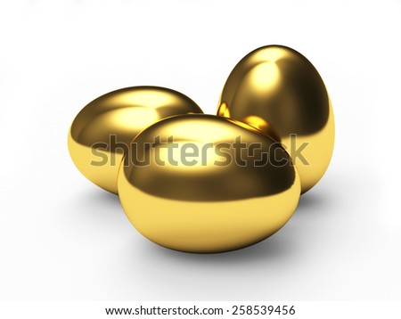 Group of  golden easter eggs isolated on white background