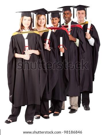 group of graduates full length portrait on white - stock photo