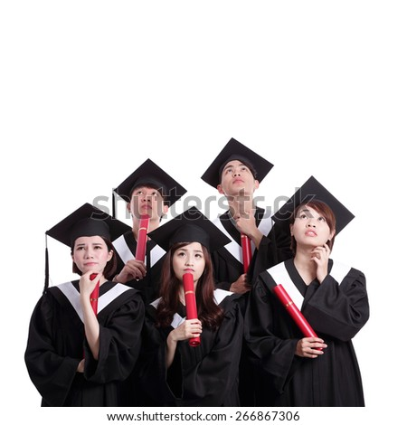 group of graduates student think their future isolated on white background, asian - stock photo