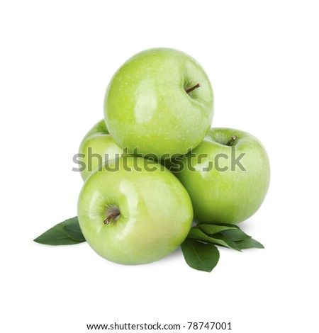 Group of green apples with a leaf. Isolated on a white background - stock photo