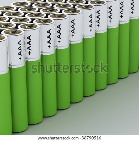 Group of green batteries - stock photo