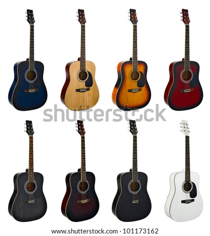 Group of guitars on the white background - stock photo