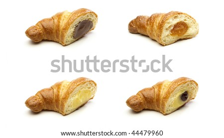 Group of half croissants isolated on a white background - stock photo