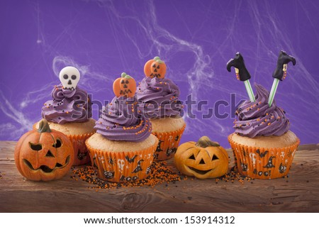 Group of halloween cupcake and decoration - stock photo
