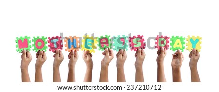 group of hands holding word mother's day - stock photo