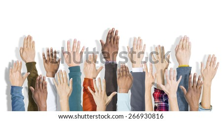 Group of Hands Raised and Background - stock photo