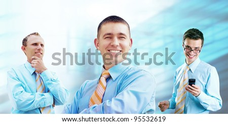 Group of happiness businessmans  on the white background