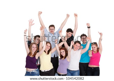 Group of happiness  young people with hands up - stock photo