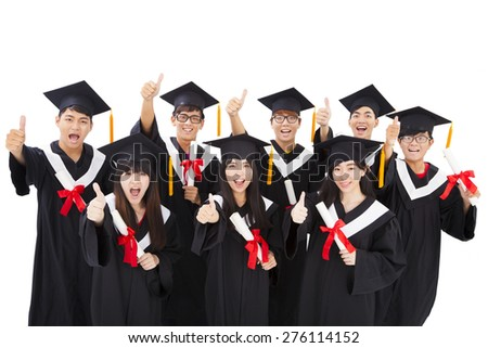 Group Of happy asian Students Celebrating Graduation  - stock photo