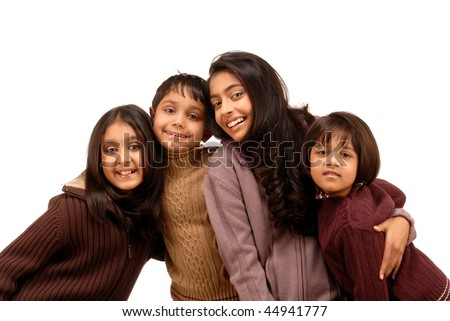 Group of happy brother and sisters