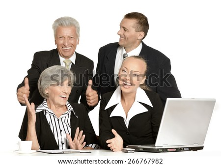 Group of happy business people isolated on white - stock photo