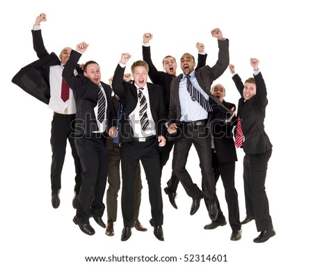 Group of happy businessmen jumping - stock photo