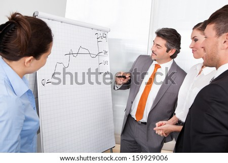 Group Of Happy Businesspeople Discussing Plan Drawn On Flipchart - stock photo
