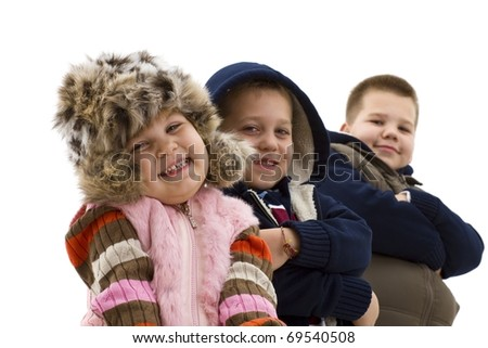 Group of 3 happy children posing together, smiling. Isolated on white background. - stock photo