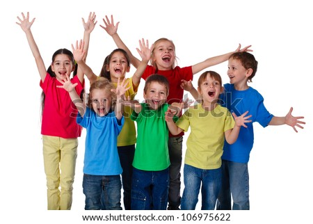 Group of happy children with hands up sign, isolated on white - stock photo