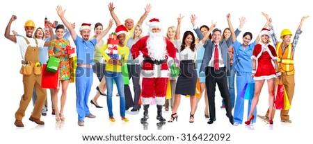 Group of happy Christmas people with gifts isolated white background - stock photo