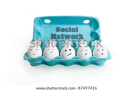 Group of happy eggs with smiling faces representing a social network. Ten white eggs in a carton box. Isolated on a white  background - stock photo