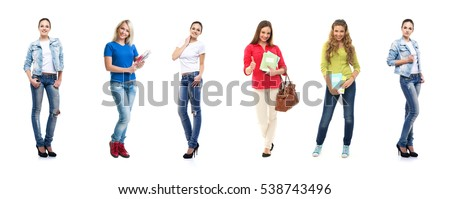 Group of happy female students. Collection set isolated on white backrgound.