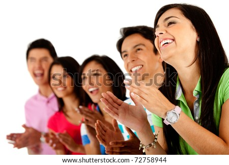 Group of happy friends applauding ? isolated over a white background