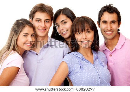 Group of happy friends smiling - isolated over a white background - stock photo