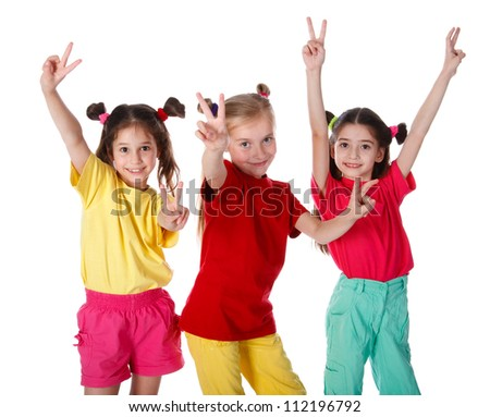 Group of happy girls with victory sign, isolated on white - stock photo