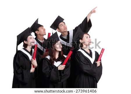 group of happy graduates student look copy space isolated on white background, asian - stock photo