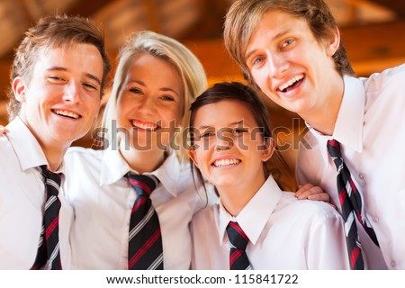 group of happy high school students closeup - stock photo