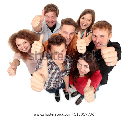 Group of happy joyful friends standing with hands up isolated on white background - stock photo