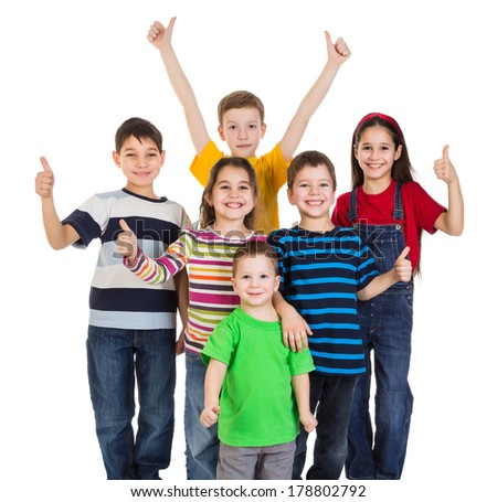 Group of happy kids with thumbs up sign, isolated on white - stock photo