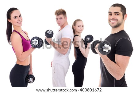 group of happy men and women in sportswear doing exercises with dumbbells isolated on white background - stock photo