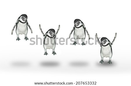 Group of happy penguins jumping and flying. - stock photo