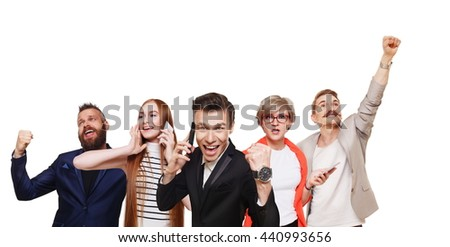 Group of happy people call cell phones and celebrate news of win, success. Connection, communication. Buyers at sale. Emotional men and women isolated, shopping concept. - stock photo